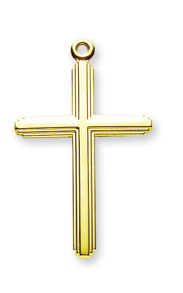 "1 1/2"" Gold Over Sterling Silver Inlay Cross with 20"" Chain and Box"