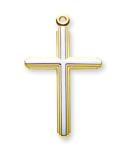 """1 1/2' Tutone Gold Over Sterling Silver Inlay Cross with 20"""" Chain"""