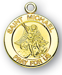 Gold Over Sterling Silver Round St. Michael Medal