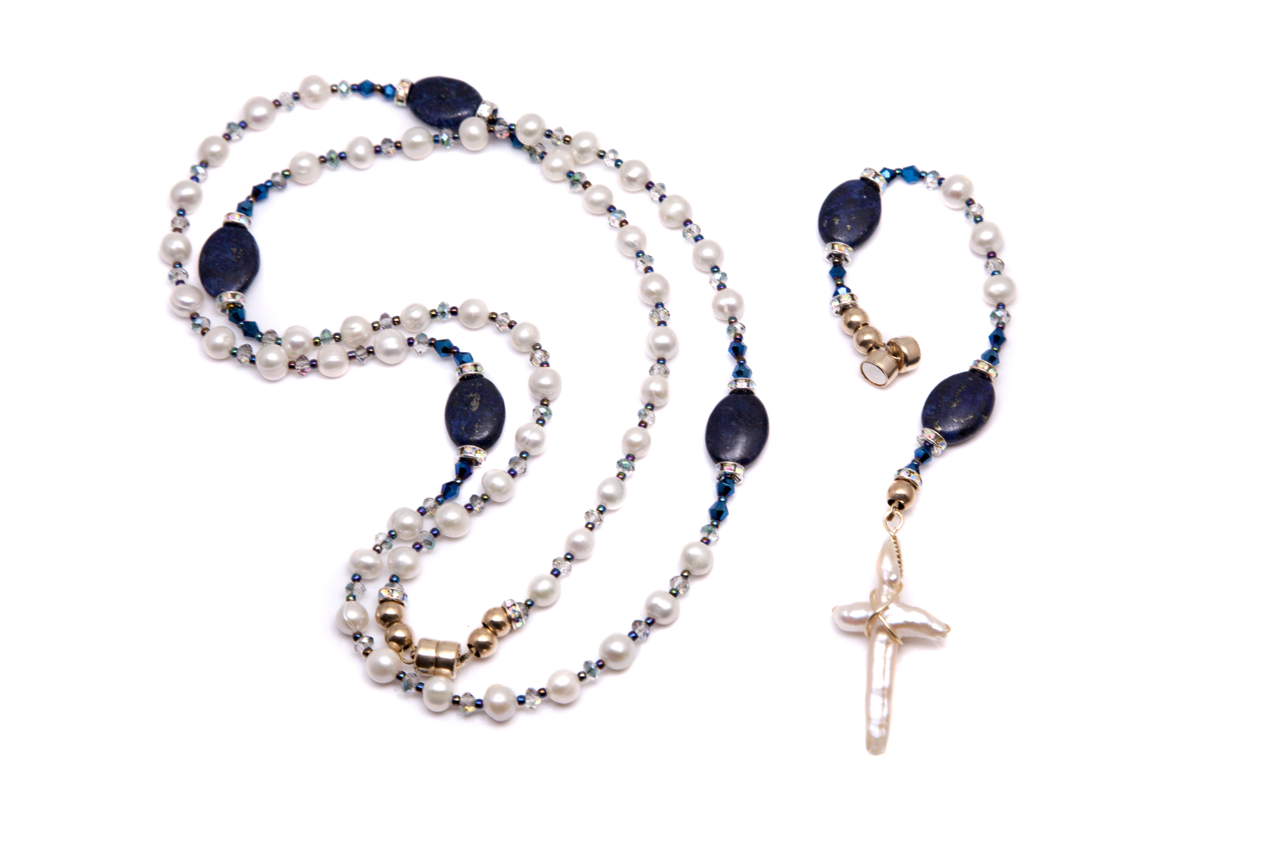 Pearl and Lapis Rosary / Necklace Set