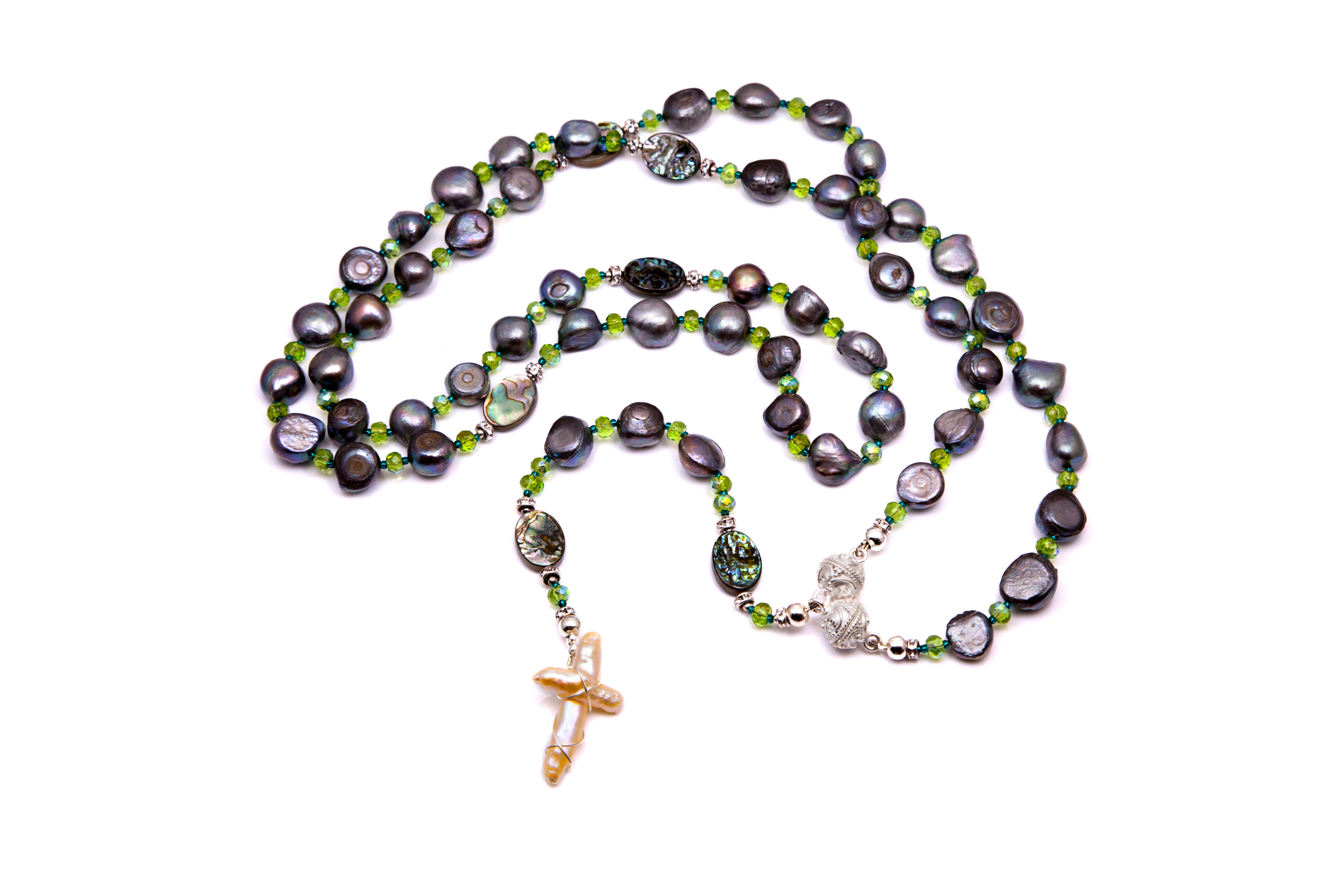 Grey - Button Pearl & Flat Abalone Rosary / Necklace Set