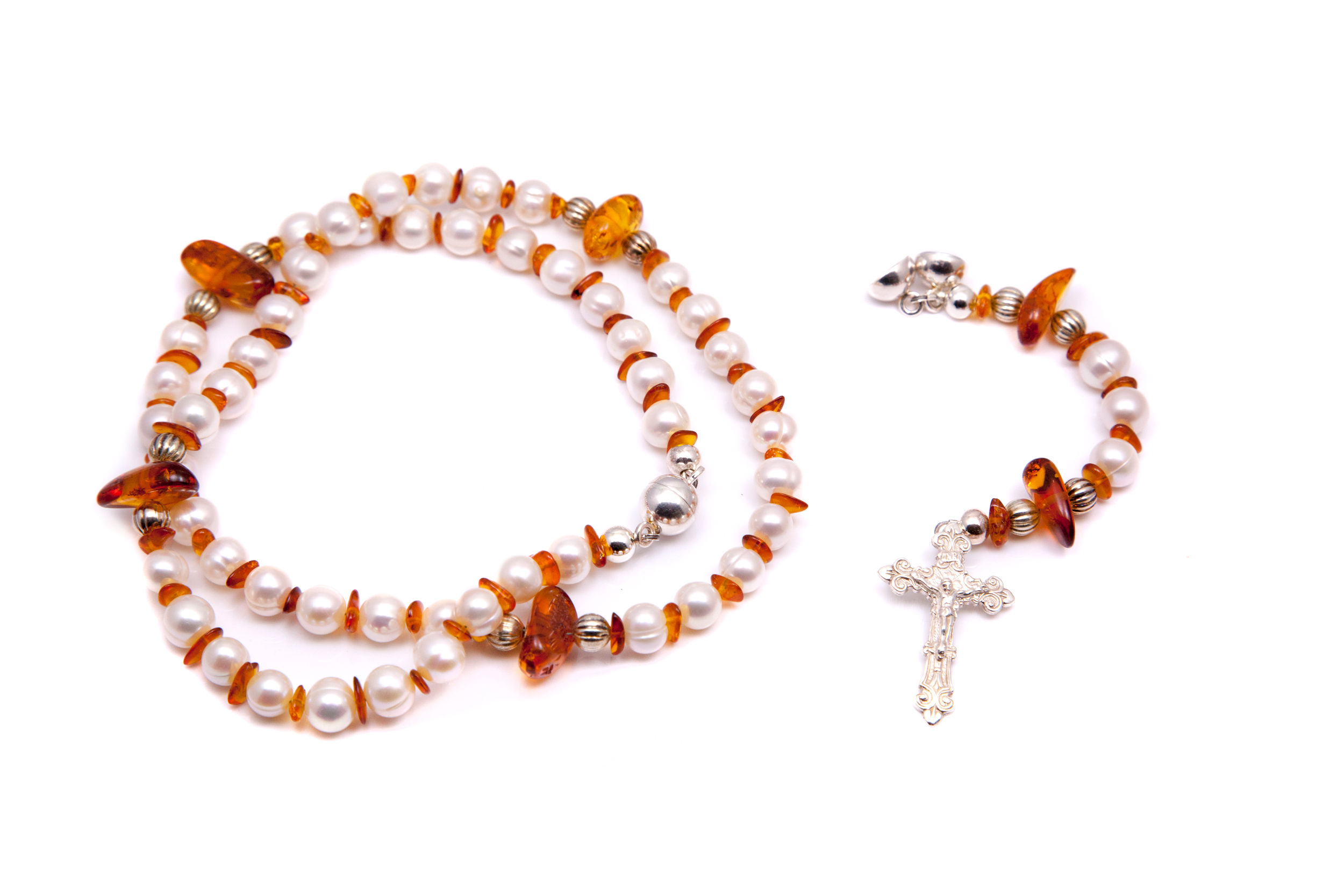 PEARL AND AMBER ROSARY / NECKLACE SET