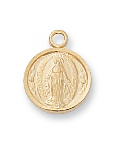 "Gold over Silver Miraculous Medal 16""with Chain"