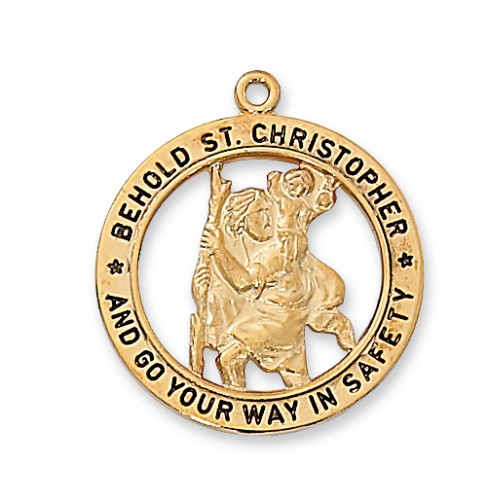"Gold over Silver St. Christopher with 24"" Chain"