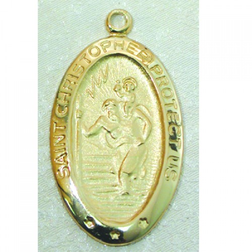 """Gold over Silver St. Christopher with 18"""" Chain"""