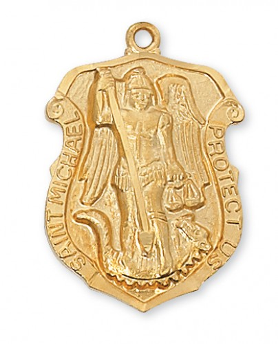 """Gold over Silver St Michael with 24"""" Chain"""