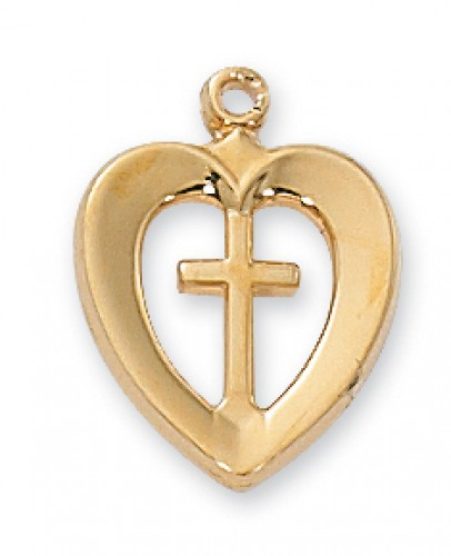 "Gold over Silver Heart/Cross with 18"" Chain"
