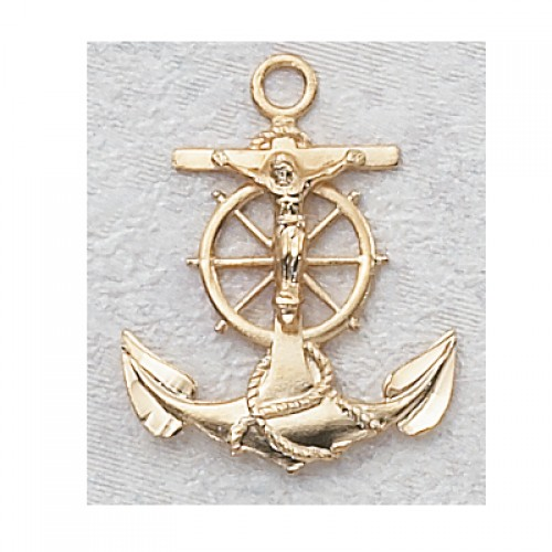 """Gold over Silver Anchor/Crucifix with 24"""" Chain"""