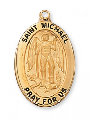 """Gold over Silver St Michael with 20"""" Chain"""