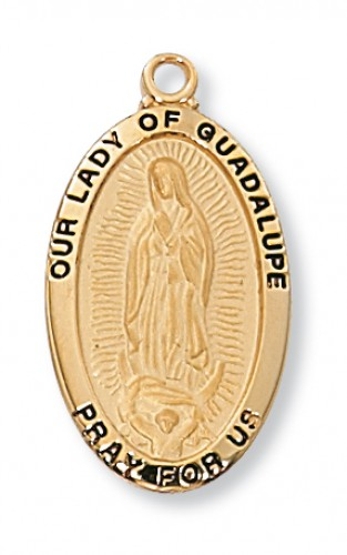 "Gold over Silver Our Lady of Guadalupe 18"" Chain and Box"