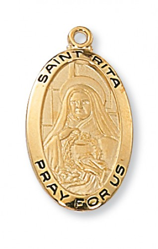 "Gold over Silver St Rita Medal with 18"" Chain"