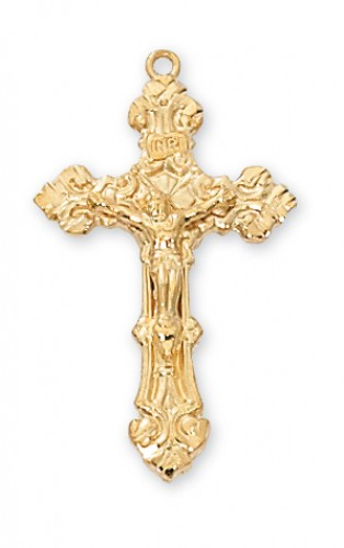 "Gold over Silver Crucifix with 18"" Chain"