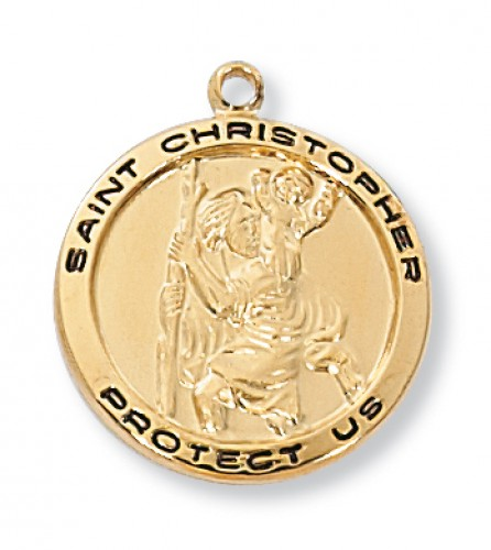 Gold over Silver St. Christopher  18-inch Chain and Box