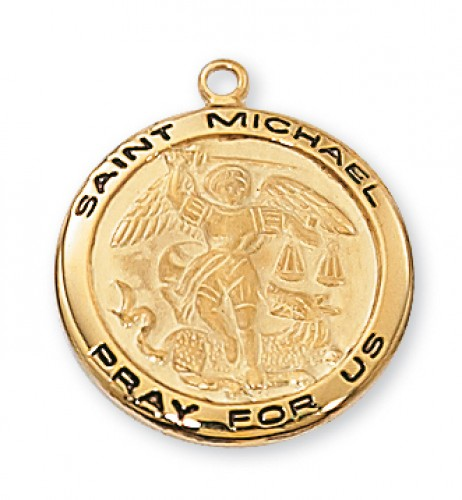 "Gold over Silver St. Michael with 18"" Chain"
