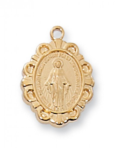 "Gold over Silver Miraculous Medal 13"" Chain & Box"""