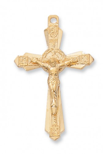 "Gold over Silver Crucifix with 24"" Chain"