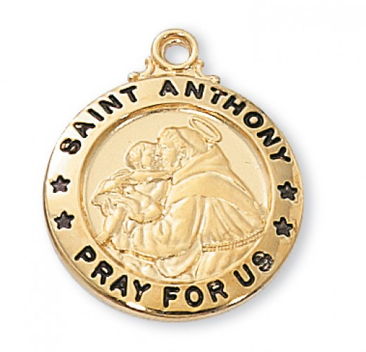 "Gold over Silver St. Anthony  20""  with Chain"