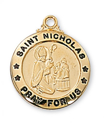 "Gold over Silver St Nicholas with 20"" Chain"