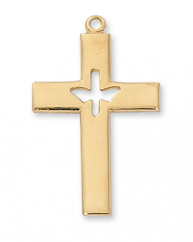 "Gold over Silver Cross with 24"" Chain"