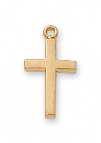 "Gold Over Silver Baby Cross 13"" Chain/W"""