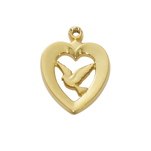 "Gold over Silver Heart with Dove, with 18"" Chain"
