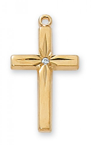 "Gold over Silver Cubic Zirconia Cross with 18"" Chain"