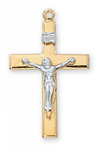 """Gold over Silver Crucifix with 18"""" Chain"""