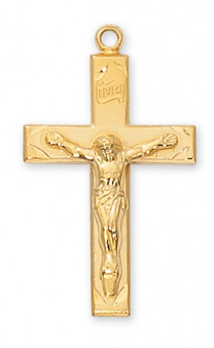 """Gold over Silver Crucifix with 24"""" Chain"""
