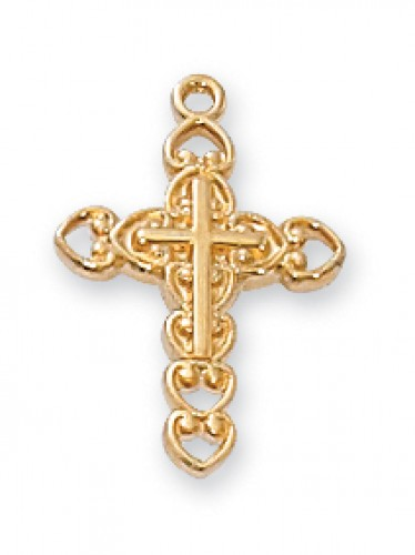 "Gold over Silver Cross 13"" Chain&Bt"