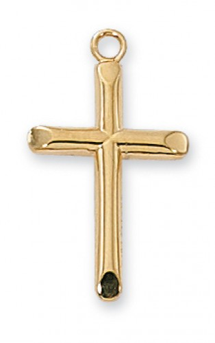 "Gold over Silver Cross with 18"" Chain"