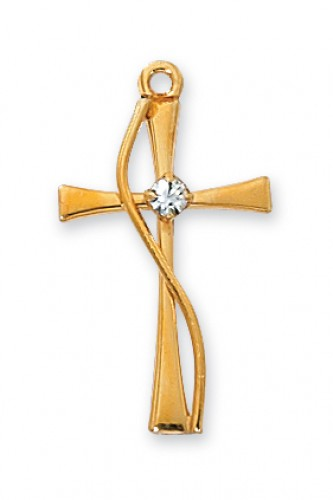 "Gold over Silver Cross with Stone with 18"" Chain"