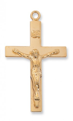 "Gold over Silver Lords Prayr Crucifix, with 24"" Chain"