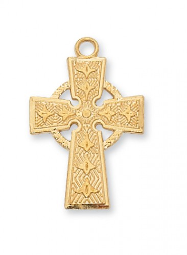 """Gold over Silver Celtic Cross with 18"""" Chain"""
