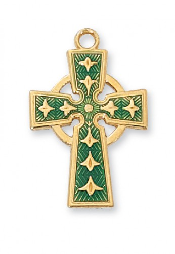 Gold over Silver Celtic Cross 18Ch""