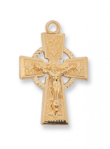 "Gold over Silver Celtic Crucifix with 18"" Chain"