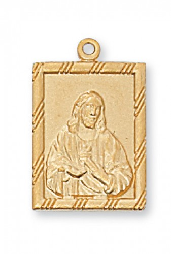 "Gold over Silver Square Sacred Heart 18""Ch"