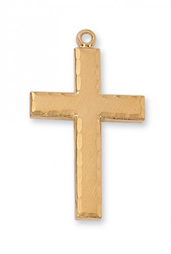 "Gold over Silver Eng Cross with 24"" Chain"