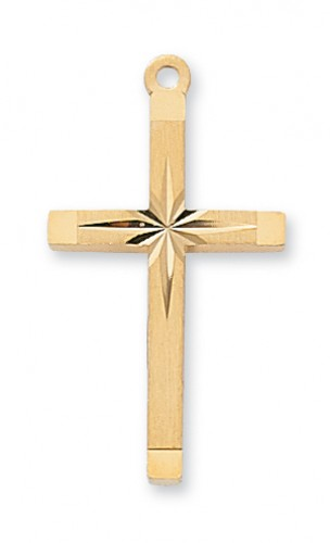 """Gold over Silver Starbust Cross with 18"""" Chain"""
