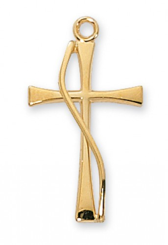 Gold over Silver Cross  18-inch Chain & Box""