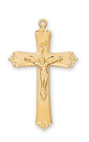 """Gold over Silver Small Crucifix with 18"""" Chain"""
