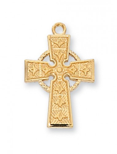 "Gold over Silver Celtic Cross with 18"" Chain"