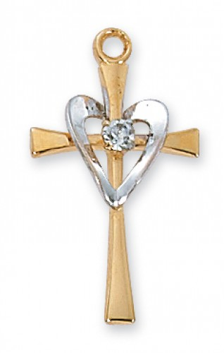 Gold over Silver Cross with Sil Heart 18Ch""