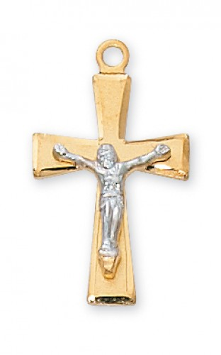 "Gold over Silver Tutone Crucifix with 18"" Chain"