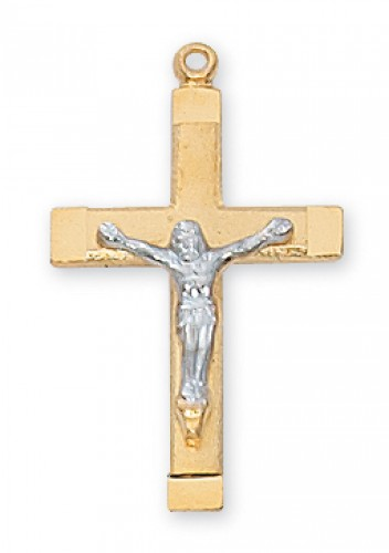 Gold Over Silver Tutone Crucifix with Chain