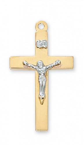 "Gold over Silver Tutone Crucifix 20"" Chain"
