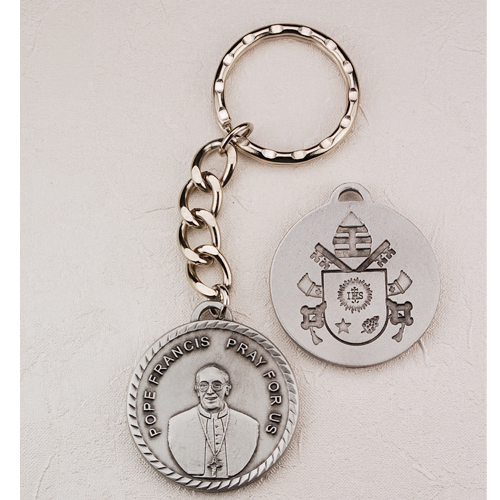 Pewter Pope Francis Key Ring