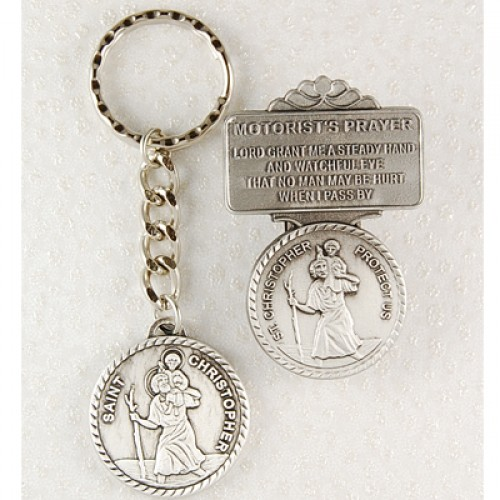 St. Christopher Keyring/Visor Set