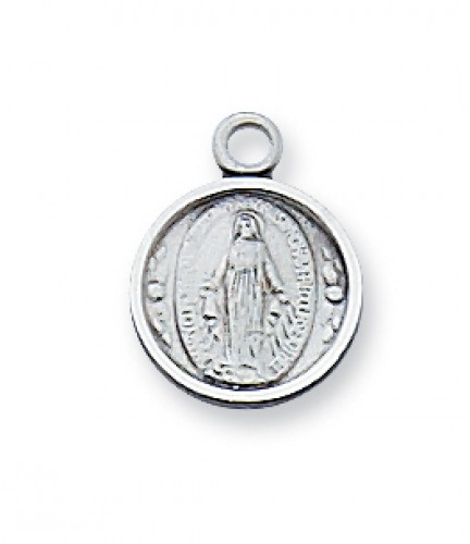 "Sterling Silver Miraculous Medal 16""with Chain"