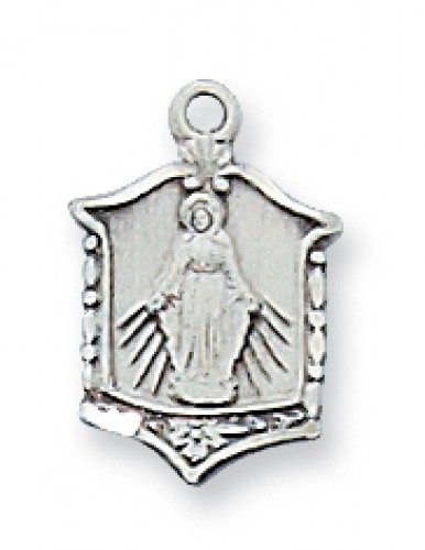 "Sterling Silver Miraculous Medal 16"" with Chain"