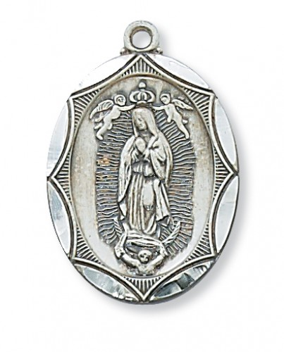 """Sterling Silver Guadalupe Medal 24"""" Chain"""